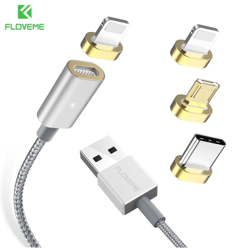 FLOVEME 3 in 1 Micro USB Magnetic Cable For iPhone Magnet Cables For Samsung S9 Xiaomi Huawei Fast Charger Cable LED Indicator