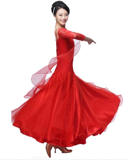 US $25.2 28% OFF|plus size red pink black Ballroom Dress Viennese standard  ballroom plus size ballroom dance dresses tango costumes-in Ballroom from  ...