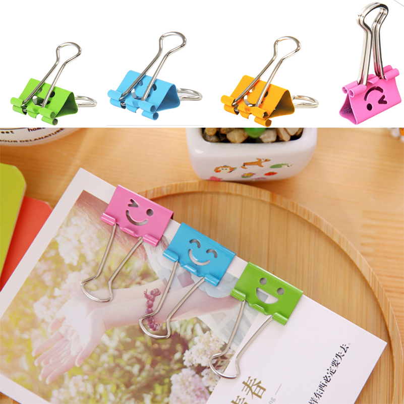 40Pcs 19mm Colorful Smile Face Metal Paper Clip Designs Metal clips Binder Office school Stationery colorful paper clips around 100 pack
