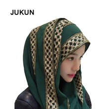 Muslim Headscarf Sprinkled Gold Drilled Long Scarves Female Summer Shawl Colorful Scarfs for Ladies