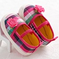 2016 New Hot Cute Sweet Checkered Small Flower Princess Baby Shoes Newborn Infant Toddler Mary Janes Prewalker Soft Soled Shoes