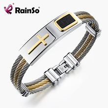 2017 RainSo New Arrival Men's Cross Bracelet with Synthesis Leather 3 Row Wire Chain Bangle Holy Classics Christ Style for men
