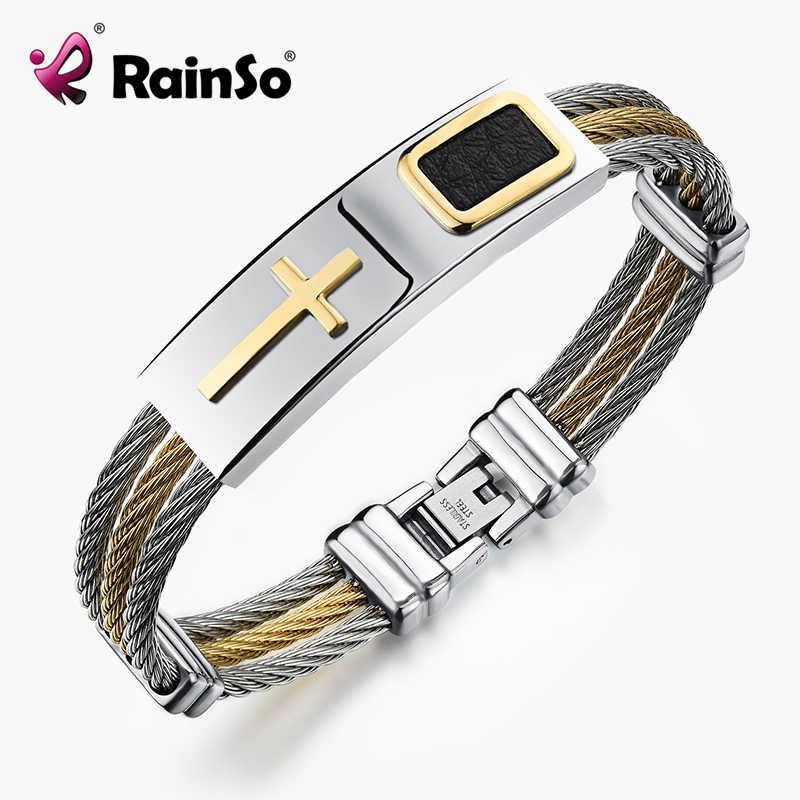 2019 RainSo 新到着男性のクロスブレスレットと合成革 3 行線チェーンバングル聖クラシックキリストスタイル男性のための