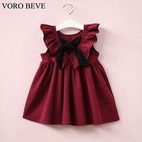 VORO BEVE Summer New Casual Style Fashion Fly Sleeve Bowknot Girls Sundress Baby Girl Clothing Fashion