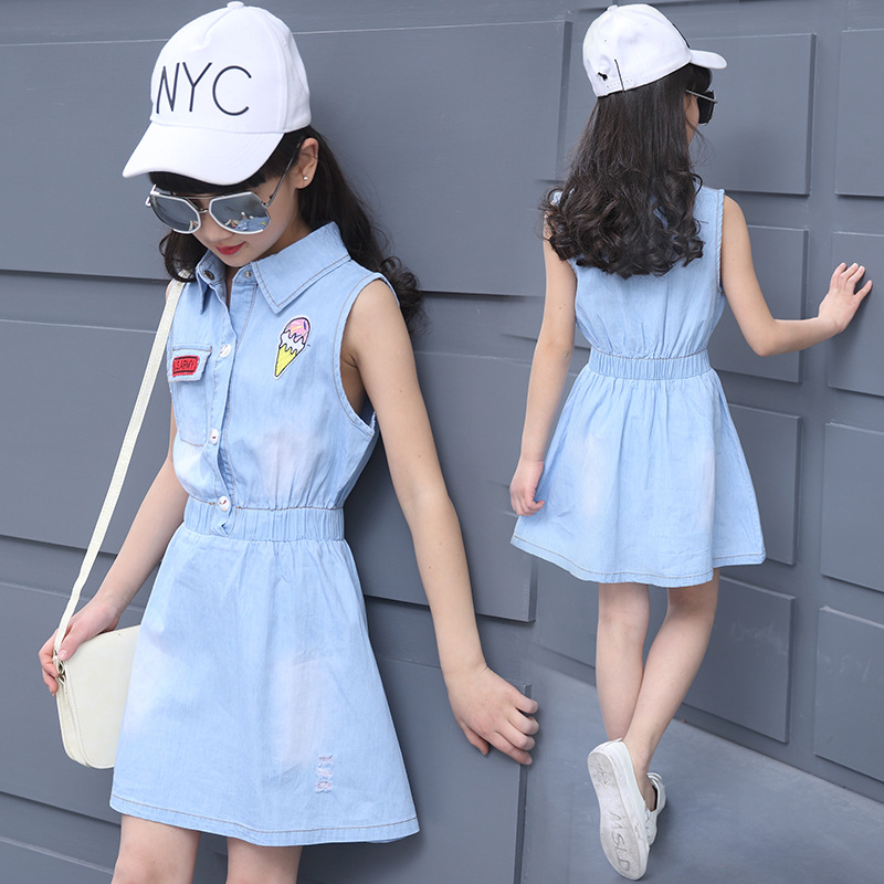 Teenage Girls Fashion Denim Dress Turn-down Collar Sleeveless Icecream Pattern Denim Blue Defined Waist 6-14 Year Children Dress