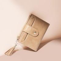 JONBAG vintage cowhide small wallet female ins simple short folding wallet coin purse
