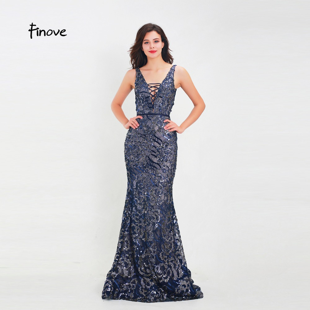 b8ef70221c736 Finove Evening Dress 2019 New Long Reflective Dress Sexy Sequined Deep V  Neck Woman Dress Gowns Party Clothing Plus Size