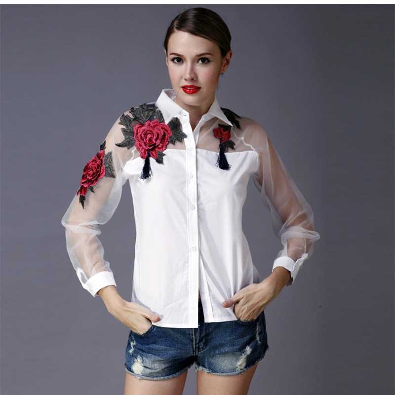 New fashion women's embroidery flowers European root long-sleeved high-end shirt