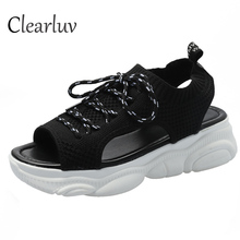 2019 summer flat bottom cake bottom fish mouth casual female sandals thick bottom comfortable cloth sports fashion women's shoes