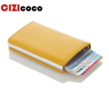 Men RFID Card Holder Aluminium Antitheft Credit Automatical Pop Up Wallet New Slim PU Leather Business ID Wallets