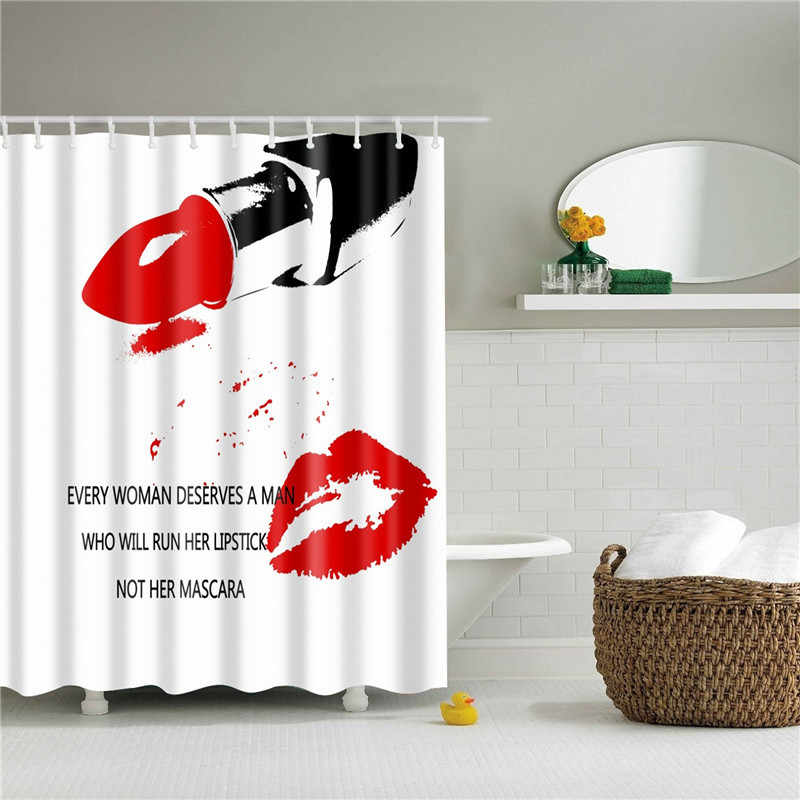 Red Lip Modello Tende da Doccia Impermeabile Tenda Della Stanza Da Bagno Poliestere Eco-Friendly Da Bagno Tenda Della Decorazione Della Casa Con 12 Ganci