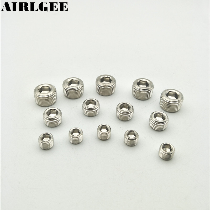 G1/8 1/4 3/8 1/2PT Male Thread Inner Hex Head Pipe Plugs Socket Pneumatic Fittings