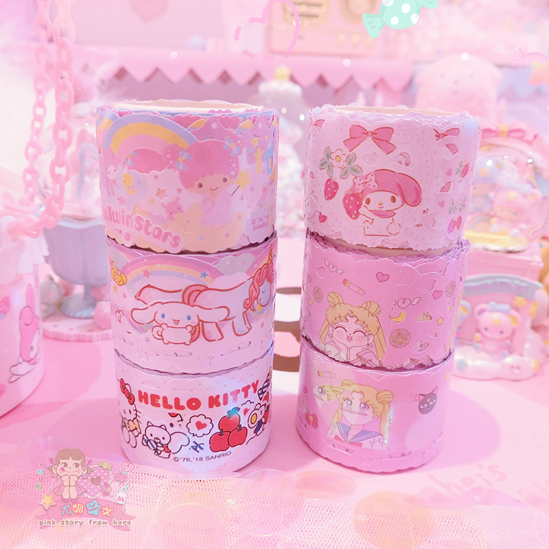 1 Pack Cartoon My Melody Little Twin Stars Cinnamoroll Washi Tape DIY Japanese Hollow Out Paper Decorative Masking Tape Stickers