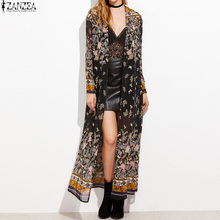 2017 ZANZEA Vintage Womens Long Sleeve Boho Floral Printed Chiffon Kimono V Neck Summer Beach Maxi Long Jacket Cardigan Tops