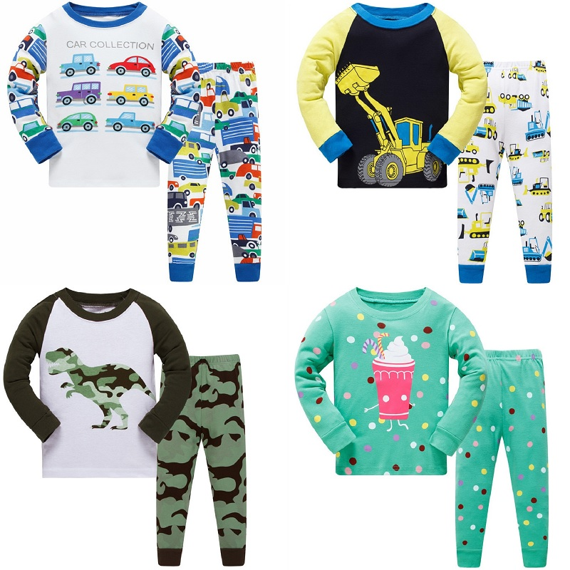 Kids Long Sleeve Pajamas Sets New 2018 Spring Autumn Girl Penguins Boys Dinosaurs Sleepwear Animal 3 4 5 6 7 8 Years Pjs Clothes