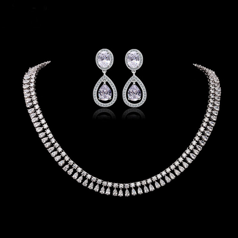 Moonso 925 Sterling Silver Jewelry for women wedding Austrian Crystal Stud Earrings and Necklace african J1055 ge3 sir472dp t1 ge3 r472