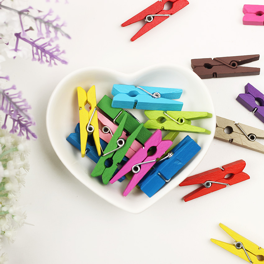 20PCS Fixed Photo Clothes Paper Colored Mini Wood Clips Material Wood Office Essential Supplies