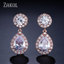 ZAKOL Dazzling Big Round Cubic Zircon Drop Earrings for Bridal Fashion White Color Water Drop Crystal Wedding Jewelry FSEP501(China)