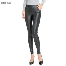 Womens High Waist Pu Stretch Leggings Plus Size Faux Leather Legging Women Push Up Leggins Mujer Pockets Big Pencil Pants