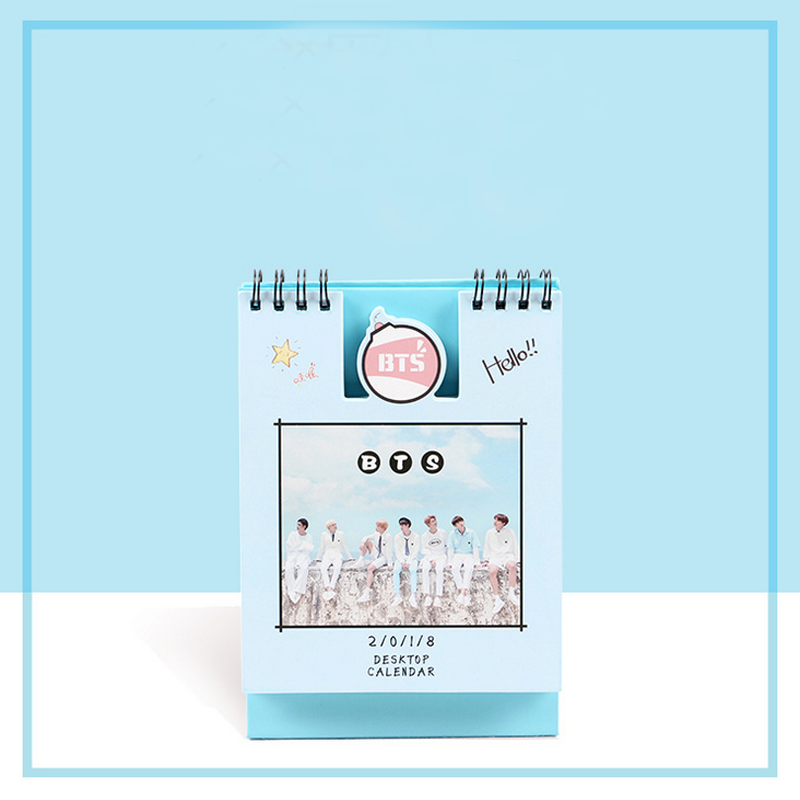 1 Pcs BTS Army Bomb 2018 Desk Calendar Boys Mini Picture Photo Album Jimin Suga V Rap Monster Fan Made Cards bts suga autographed signed original photo you never walk alone 4 6 inches korea freeshipping 02 2017