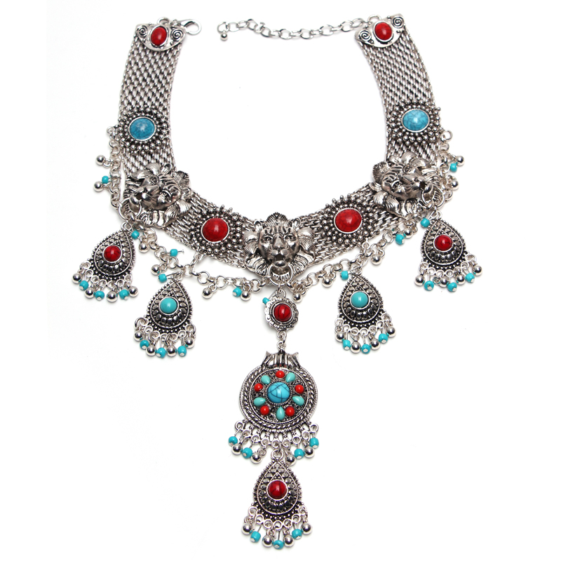 Latest Fashion choker Alloy Statement long Bohemian necklaces pendants Vintage gypsy ethnic maxi Necklace Women fine