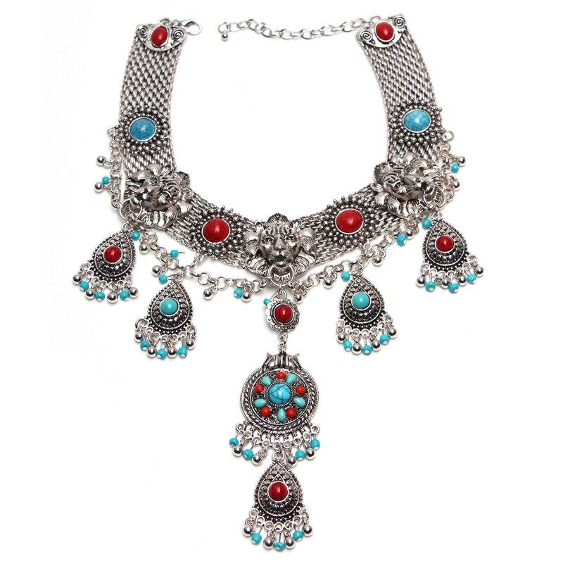 Ztech Latest choker Alloy Statement long Bohemian necklaces & pendants Vintage gypsy ethnic maxi Necklace Women fashion Jewelry bohemian asymmetrical ethnic print maxi skirt for women