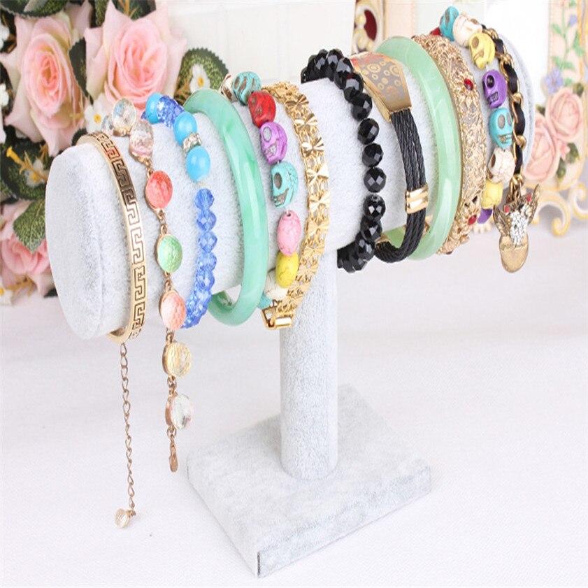 2017 Economic hot sale Velvet Jewelry Rack Bracelet Necklace Stand Organizer Holder Display B
