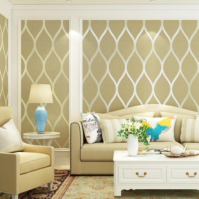 Yellow,White,Green Modern Geometric Wallpaper Flocked Trellis Wall ...