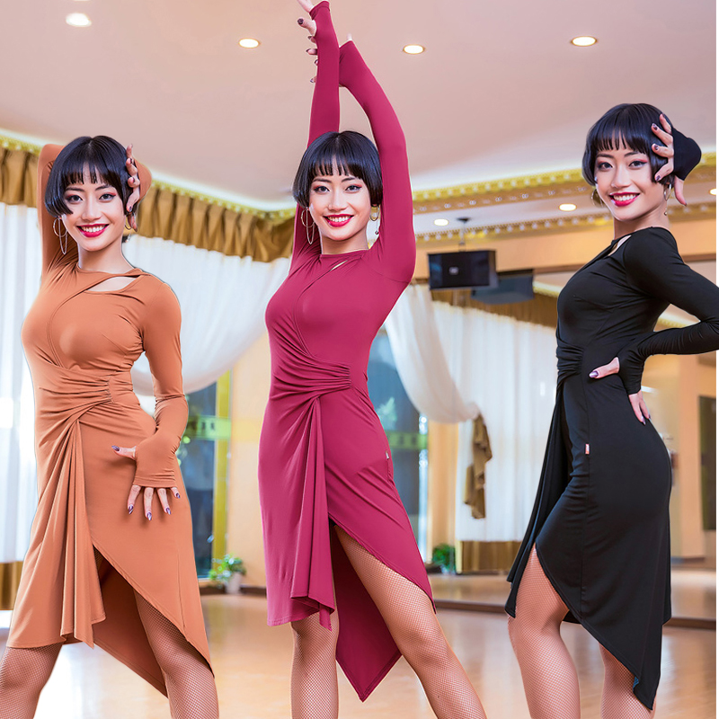 Latin Dance Dress Long Sleeve Irregular Skirt Lady Ballroom Tango Dresses Cha Salsa Clothes For Women