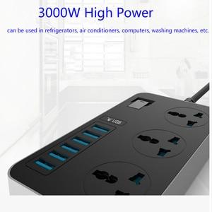 Image 4 - 16A Smart Power Socket Strip 6 porta USB 3 prese universali da 3000W AC presa a muro grande prolunga Patch Board per telefono casa