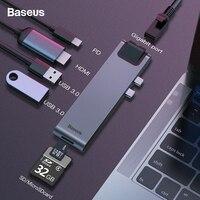 Baseus Dual USB C HUB To USB 3.0 HDMI SD TF Card Reader RJ45 Adapter PD Charging USB HUB For MacBook Pro 2016/2017/2018 Splitter