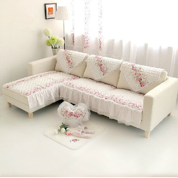 LMSL Sofa Cushion Cloth Seat Cushions Pastoral Flower Printed Sofa Cover Sectional  Sofa Backrest Towel Wedding