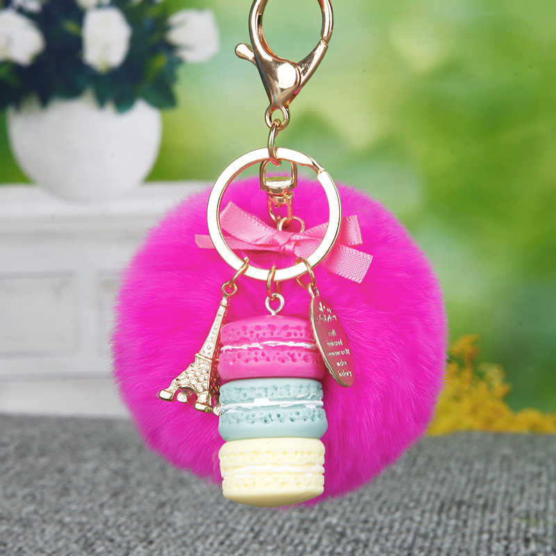 Moda Bolo Macarons Keychain Anel Chave Pele De Coelho Pom Pom Mulheres Correia de Couro Torre Eiffel Encantos Bolsa Pingente de Chave Do Carro cadeias