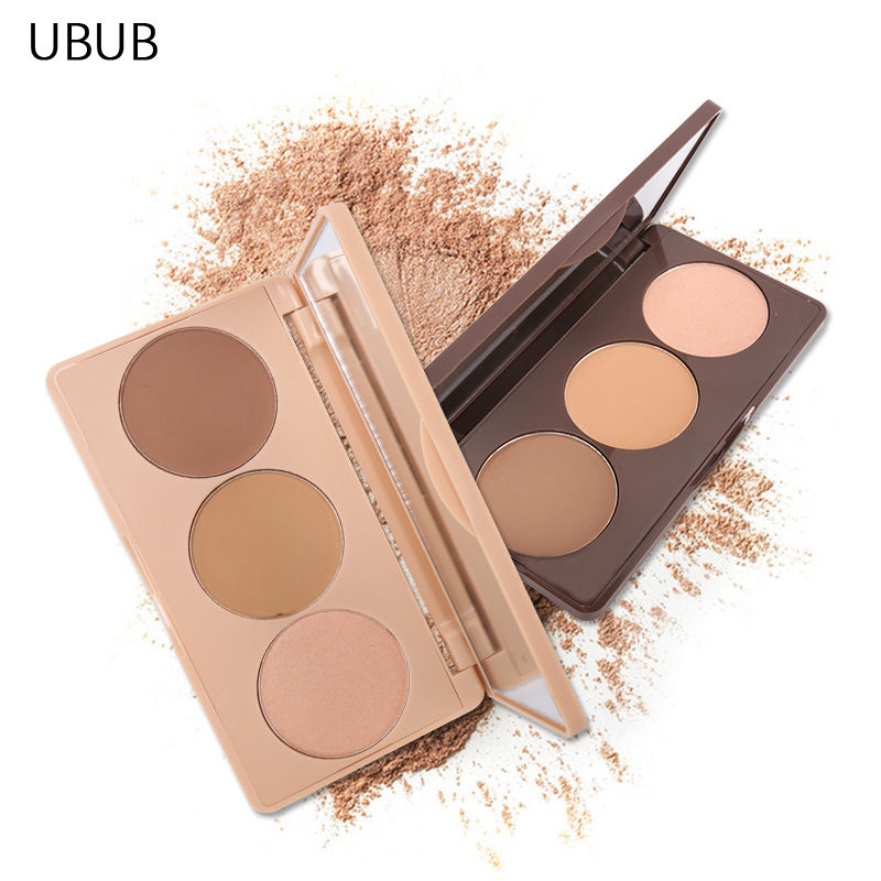 все цены на UBUB 3 Colors Mineral Bronzer Highlighter Matte Brighten 3D Face Contouring Dark Skin Pressed Powder Concealer Makeup Palette