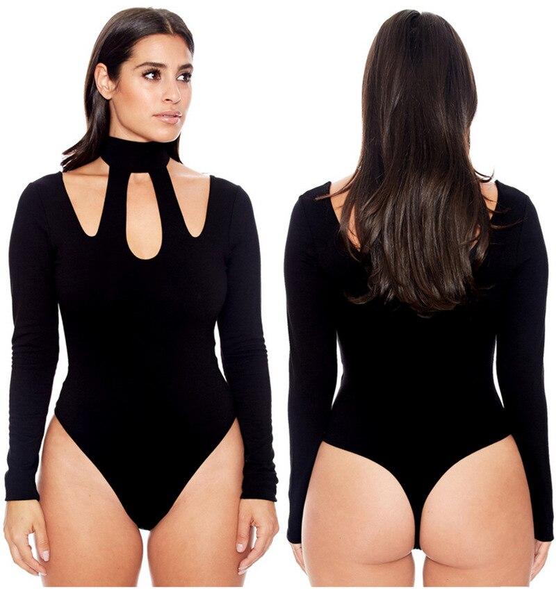 women halter bodysuits plus size lady female sexy long sleeve