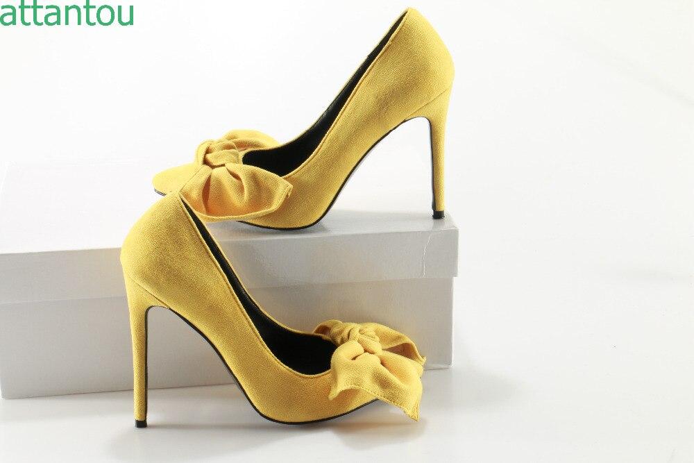 Grande As Mariage Jaune Pointu Talon Stiletto 42 Taille Mince Color Femme Bowtie 35 Pompes Bout Femmes Showed Chaussures Daim Talons Hauts De FZHBnwnOqg