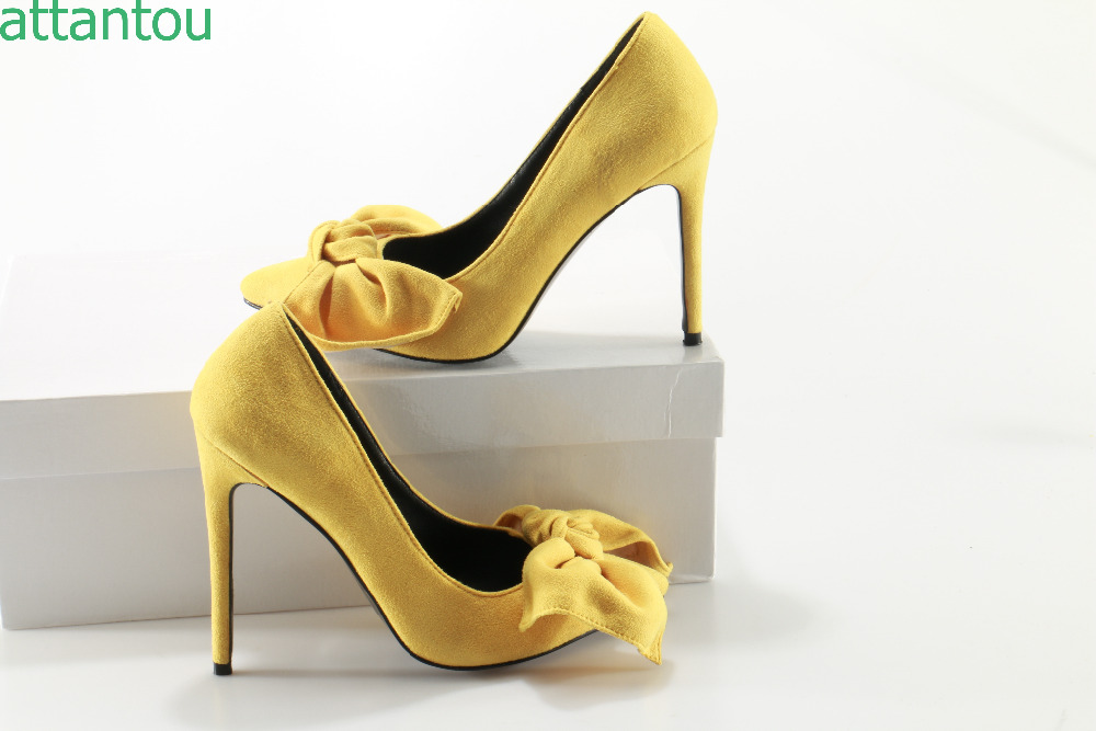 Woman Yellow Suede High Heels Pumps Stiletto Thin Heel Women's Shoes Pointed Toe Big Bowtie High Heels Wedding Shoes size 35-42