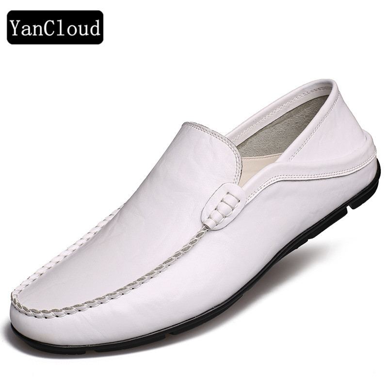 Quality Men's Flats Summer Shoes 2018 Breathable Slip on Leather Loafers Men Casual Driving Moccasins White Shoes new men leather driving moccasins shoes british hollow men s slip on loafers summer flats men shoes casual comfy breathable