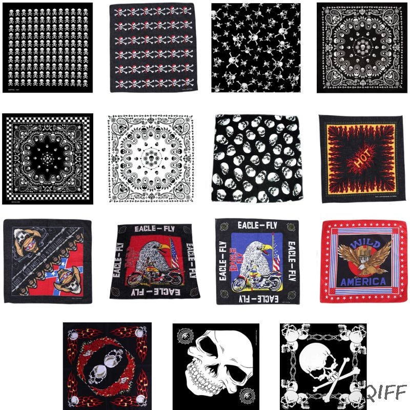 54x54cm Unisex Flaming Skull Square Bandanas Cotton Motorcycle Eagle Print Neck Tie Biker Handkerchief Hip Hop Dancing Head Wrap