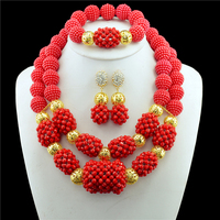 3 PCS 18K Plating Gold Red Jewelry Sets Round And Necklaces Bracelets Earrings For Women African