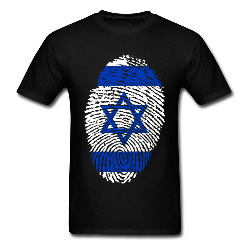 Summer <font><b>T</b></font> <font><b>Shirt</b></font> <font><b>Israel</b></font> Flag Fingerprint <font><b>T</b></font>-<font><b>shirt</b></font> Men Tshirt Black Blue Hip Hop Tees Cotton Tops Short Sleeve Clothing Geometric image