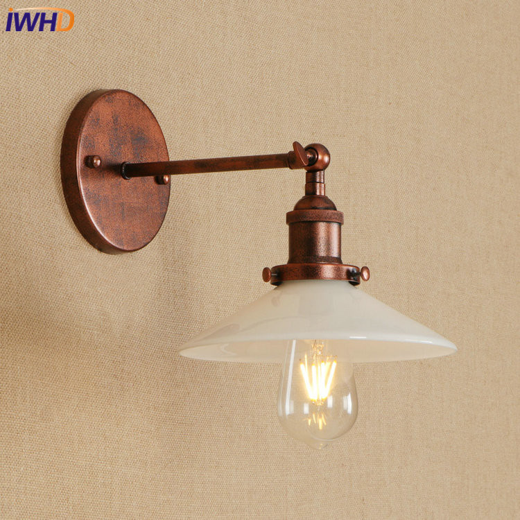 IWHD Nordic Edison LED Wall Lamp Iron Adjustable Swing Arm Wall Lights Fixtures Home Lighting Simple Bathroom Light Luminaire