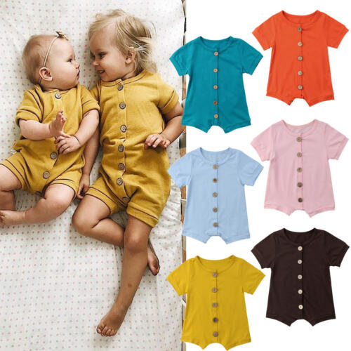 Newborn Baby Girls Boys Cotton Summer   Romper   Jumpsuit Kids Clothing Outfits Casual Solid 5 Color Clothes
