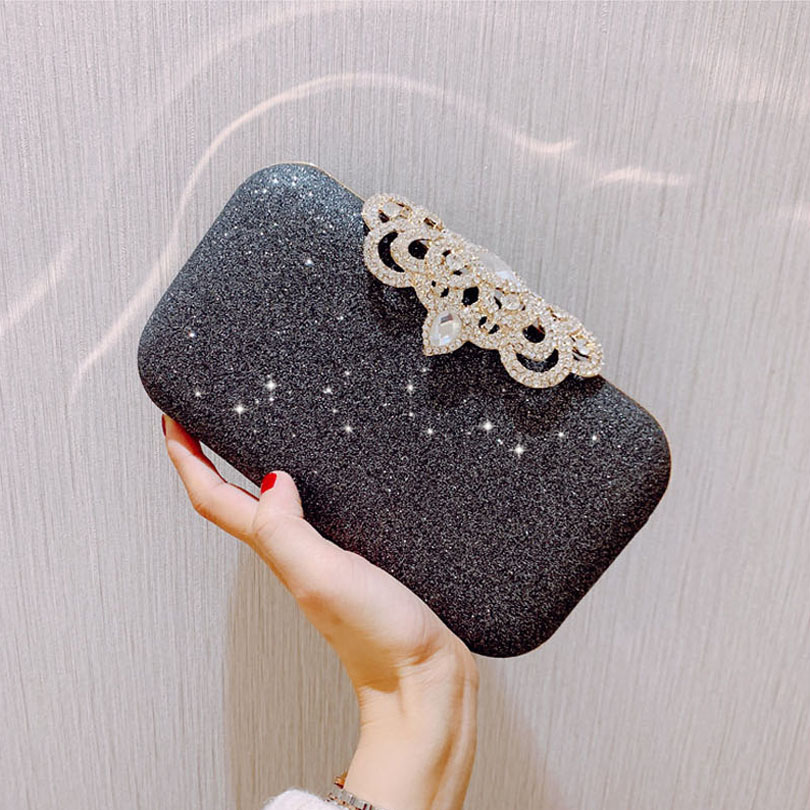 Evening-Bags Rhinestones Lock Purse Party-Bags Crossbody-Shoulder-Bag Crystal-Day-Clutch