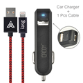 CACOY 2-Port USB car Charger+ For Apple Certified USB Data Cable For iphone 6 5S 5C Ipad Air mini iPad 4