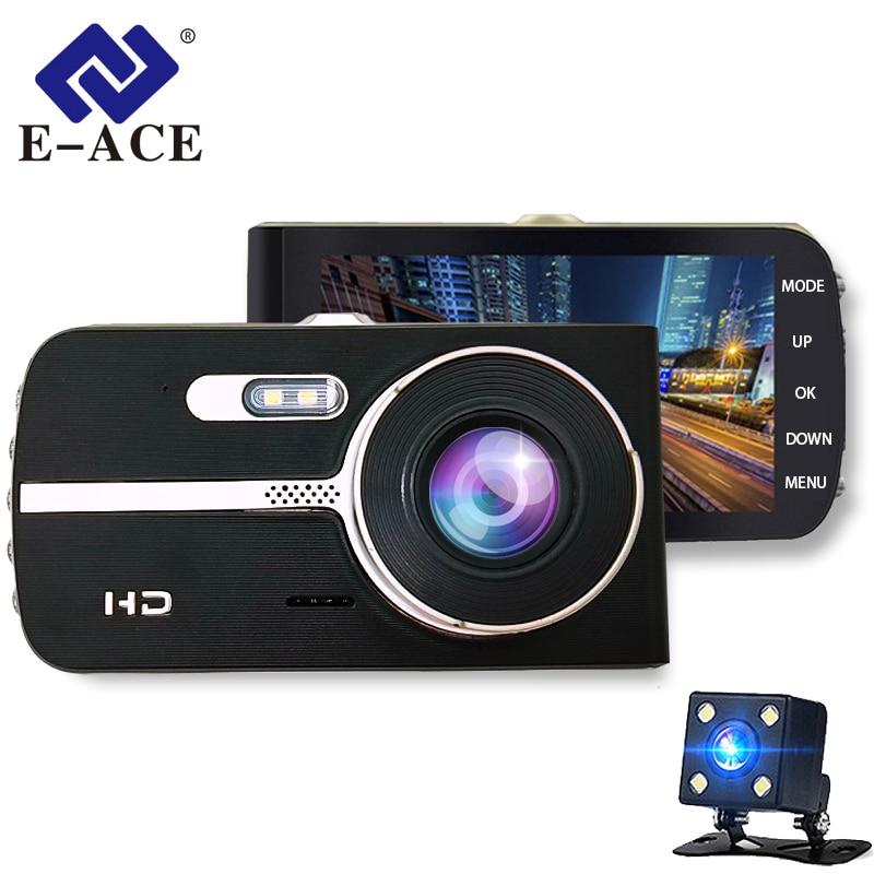 E-ACE Car Dvrs Camera FHD 1080P Dashcam 4 Inch Dual Lens Night Vision Auto Registrator Dash Cam Video Recorder Car Detector e ace car dvr camera rearview mirror fhd 1080p video recorder dual lens with rear camera auto registrator dash cam night vision