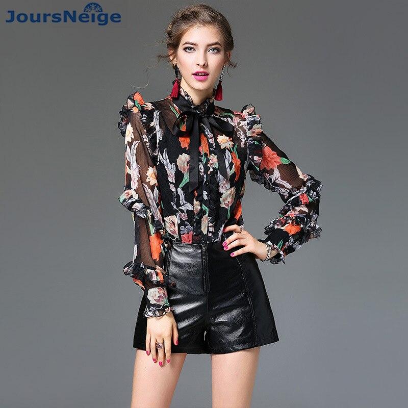 High End Satin Silk   Blouse     Shirt   Womens 2017 New Printed Ruffles Bow Slim Real Silk Satin   Blouses     Shirt   Women Retro Tops