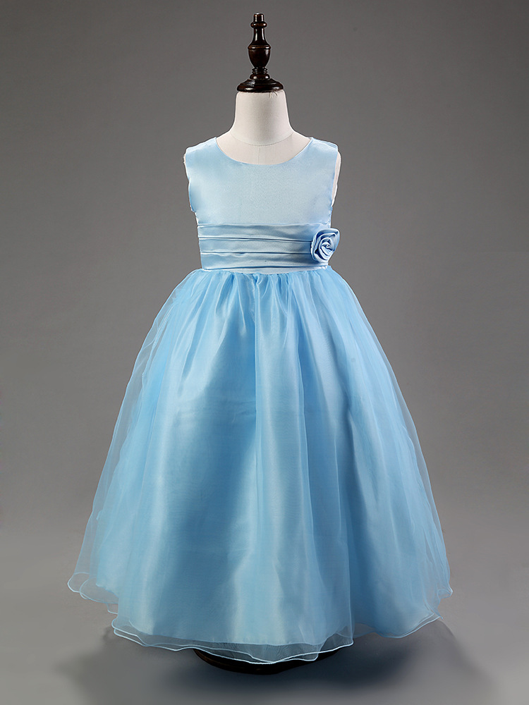 Online Get Cheap Child Blue White Flower Girl Dresses for Weddings ...