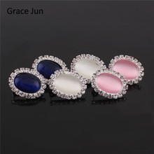 Grace Jun(TM) 2017 New Design Oval Rhinestone Opal Clip on Earrings Non Piercing for Women Wedding Charm Silver Plated Earrings