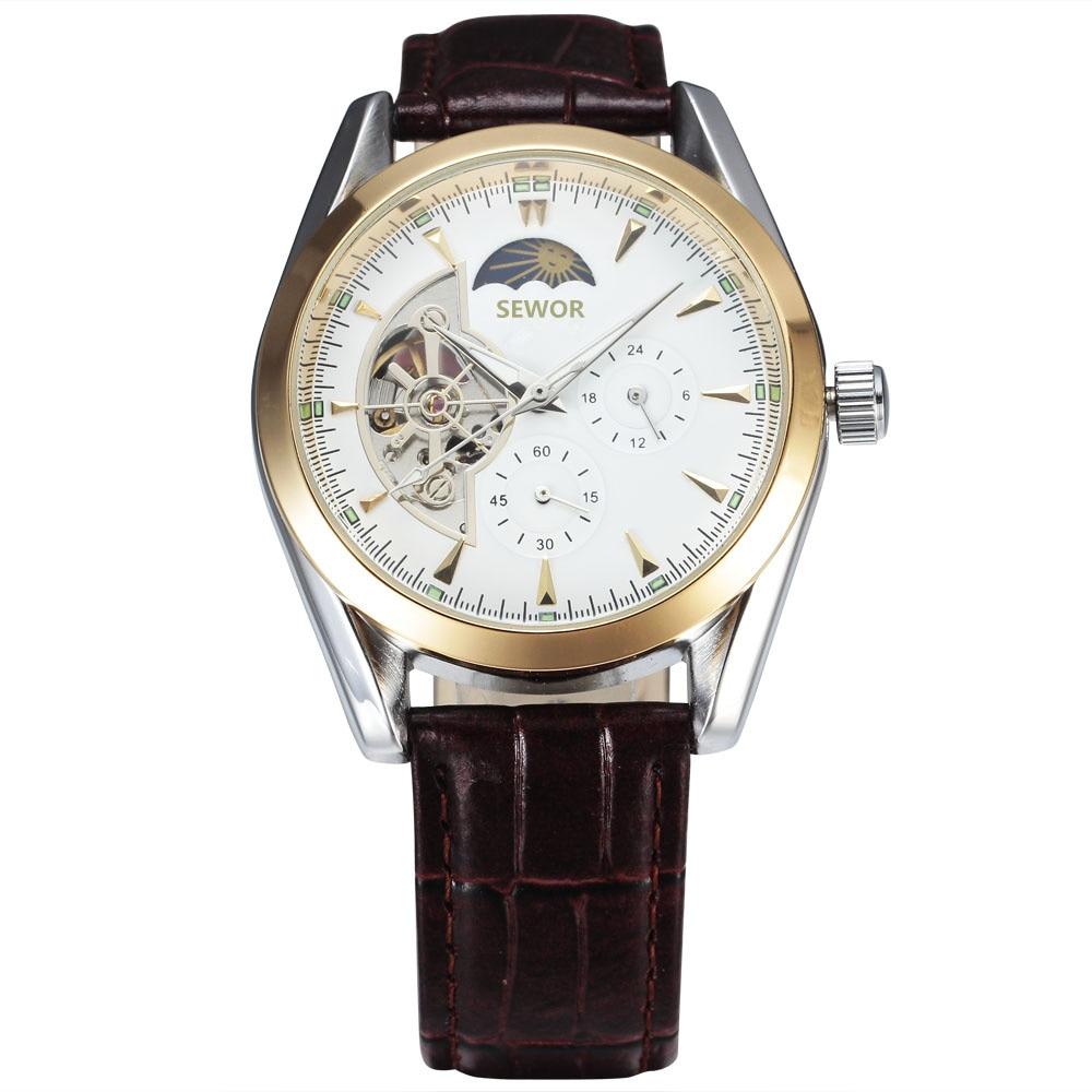 Relojes de marca superior 2018 relojes de tourbillon automáticos para hombre fase lunar 24 horas/60 min reloj de pulsera mecánico con correa de cuero subesfera